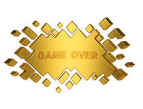 Gold game over geometric background from cubes. 3d render Royalty Free Stock Photos