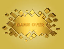 Gold game over geometric background from cubes. 3d render Royalty Free Stock Image