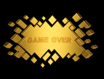 Gold game over geometric background from cubes. 3d render Royalty Free Stock Photography