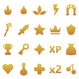 Gold  gaming icons set. Assets set for game design and web application. Gold  gaming icons set. Ready assets set for game design and web application Stock Images
