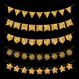 Gold Garland Decoration Set  on Black. Holiday Garland Decoration Set  on Black. Gold Glitter Texture. Vector illustration. Glowing New Year or Christmas Design Stock Photography