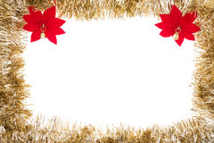 Gold Garland Frame. With poinsettias isolated on white Stock Image