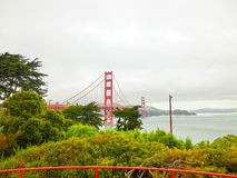 The gold gate bridge in a fog in San Francisco Royalty Free Stock Photography