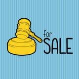 Gold gavel - hammer of judge or auctioneer. Big sale advertisement. Color illustration on blue background. Stock Images
