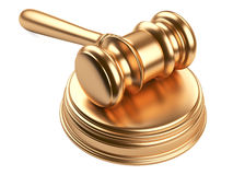 Gold gavel and soundboard Royalty Free Stock Image