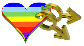 Gold gay sex symbol linked with rainbow heart Royalty Free Stock Image