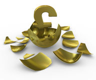 Gold GBP sign hatched from eggs of gold Royalty Free Stock Photos