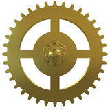 Gold gear of the clock on a white background Stock Image