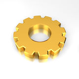 Gold Gear. On reflective white background Stock Photo
