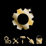 Gold Gear Vector Icon Royalty Free Stock Photo
