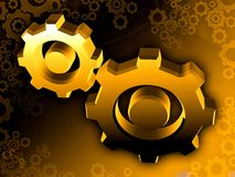 Gold gear wheels. Illustration background Stock Photo