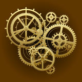 Gold gear wheels Royalty Free Stock Images