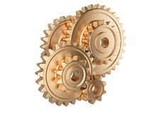 Gold gear wheels Stock Image