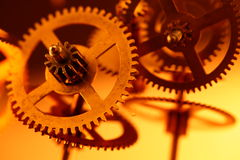 Gold gears. Old clockwork - macro with a depth of field Stock Photography