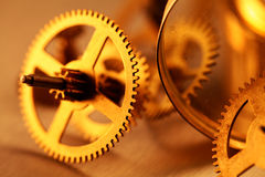 Gold gears. Old clockwork - macro with a depth of field Royalty Free Stock Image
