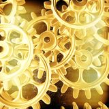 Gold gears and cogs macro vector illustration