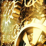 Gold gears and cogs macro. 3D Royalty Free Stock Images