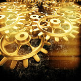 Gold gears and cogs macro. 3D Royalty Free Stock Image