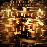 Gold gears and cogs macro Stock Images
