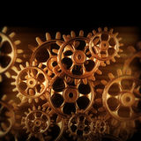 Gold gears and cogs macro Stock Image