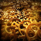 Gold gears and cogs macro. 3D rendering Royalty Free Stock Images
