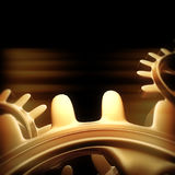 Gold gears and cogs macro. 3D rendering Royalty Free Stock Photography