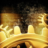 Gold gears and cogs macro Royalty Free Stock Images