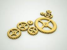 Gold gears concept Stock Photos