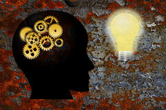 Gold Gears Human Head Lightbulb Grunge Texture Background Royalty Free Stock Photo
