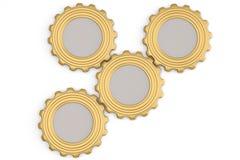 Gold gears on white background. 3D illustration. Gold gears on white background. 3D illustration stock illustration