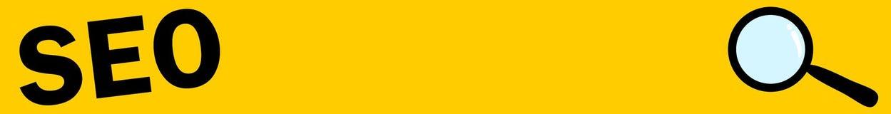 Gold/Gelb seo Fahne mit Lupe, Suche, E-Commerce Stockfoto