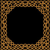 Gold, gelbe Verzierung auf einem schwarzen Hintergrund in keltischem und in arabischem Lizenzfreies Stockbild