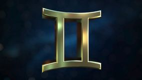 Gold Gemini Zodiac sign, 3D rendering. Gold Zodiac sign, part of the set. 3D stock illustration