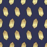 Gold gems, Crystals and Diamonds Seamless Pattern vector illustration
