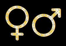 Gold gender symbols Stock Image