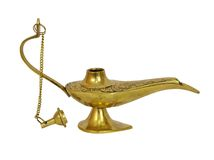 Gold genie lamp Stock Photography
