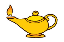Gold genie lamp Royalty Free Stock Image