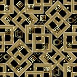 Gold geometric greek key seamless pattern. Square gold 3d meande. Rs background. Intricate ornaments with figured surface frames, circles, zigzag, shapes, lines Stock Photos