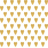 Gold geometric hearts seamless vector pattern on the white background Royalty Free Stock Photo