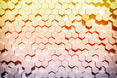 Gold geometric hexagonal abstract background for design. 3D rendering Royalty Free Stock Photos