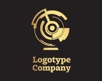 Gold geometric logo design template. Abstract symbol Royalty Free Stock Photos