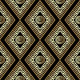 Gold geometric meander vector seamless pattern. Abstract  backgr. Ound wallpaper with ornamental rhombus, circles, shapes, figures,  ancient greek key ornaments Royalty Free Stock Photography