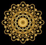 Gold geometric symmetric motif on the black background Royalty Free Stock Image