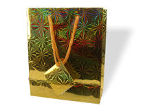 Gold Gift Bag. Photo of Gold Gift Bag stock photo