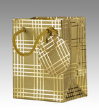 Gold gift bag with tag Stock Photos