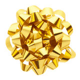Gold gift bow. Gold bow isolated on white, clipping path included Stock Photo