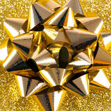 Gold gift bow Stock Photo