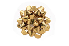 Gold Gift Bow Over White Background Stock Photos
