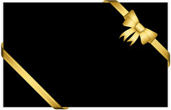 Gold gift bow with ribbons Stock Images