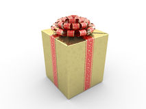 Gold gift box. Red stripe with stars on gold packing paper Stock Photography